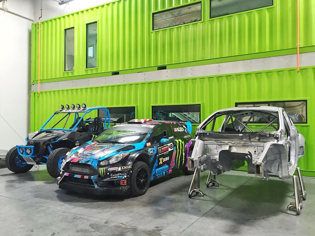 Just a few of the random fun machines to be found at the #HRD_HQ: a refreshed Ford Fiesta RX43 chassis, my Fiesta HFHV rally car, and my custom two-seater Can-Am Maverick X. #carporn #canam_by_kenblock #funmachines #FordFiesta