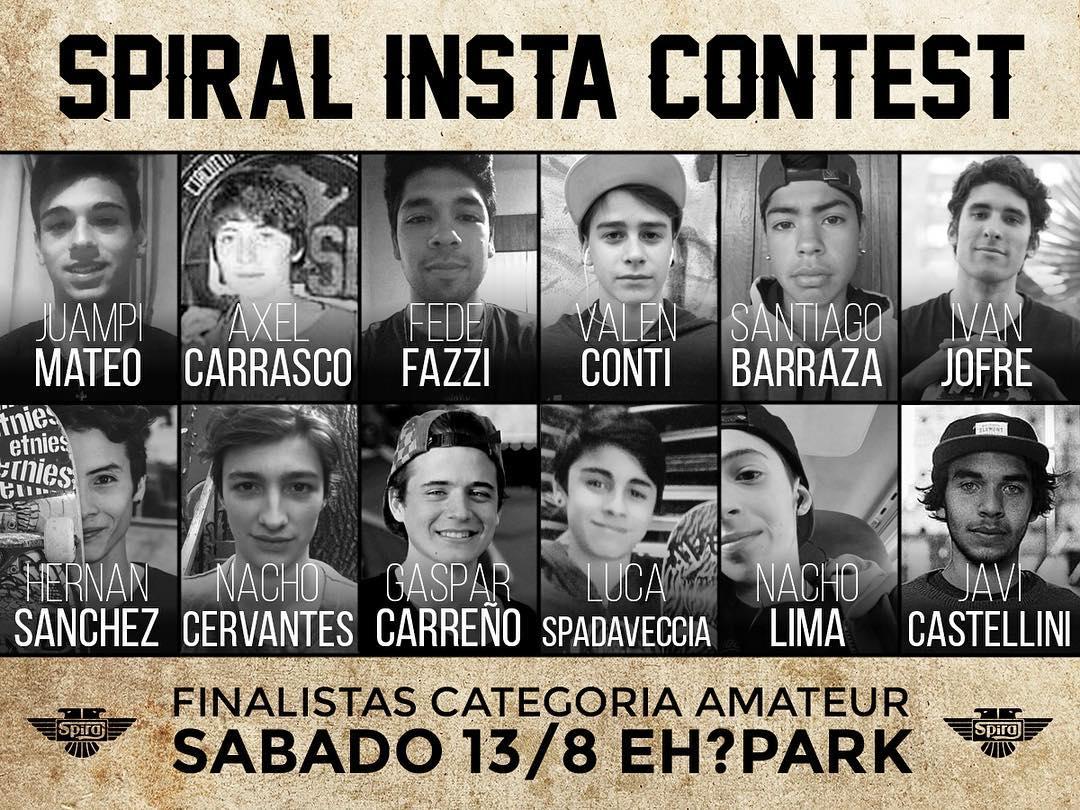 Presentamos a los 12 finalistas del Spiral Insta Contest! @juampi_mateos @herny.sk8 @axelcarrasco123 @nachocervantessk8  @fazzifede @gaspicarrenio  @valencontisb @chinitobarraz @nacholimaa @ivan_jofre @luca.spadavecchia @javicastellini  nos vemos el...
