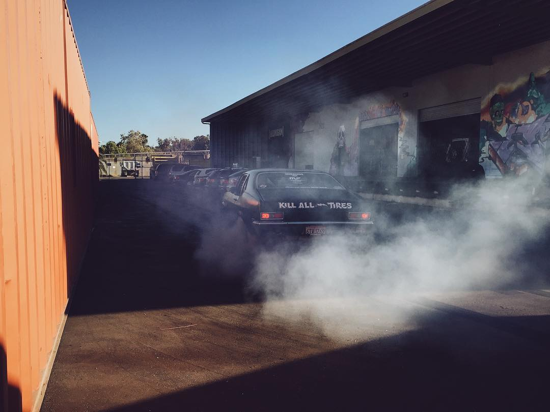 @brianscotto and the #napalmnova warming up to the new layout of the Donut Garage lot. #hoonigan #donutgarage #burnout