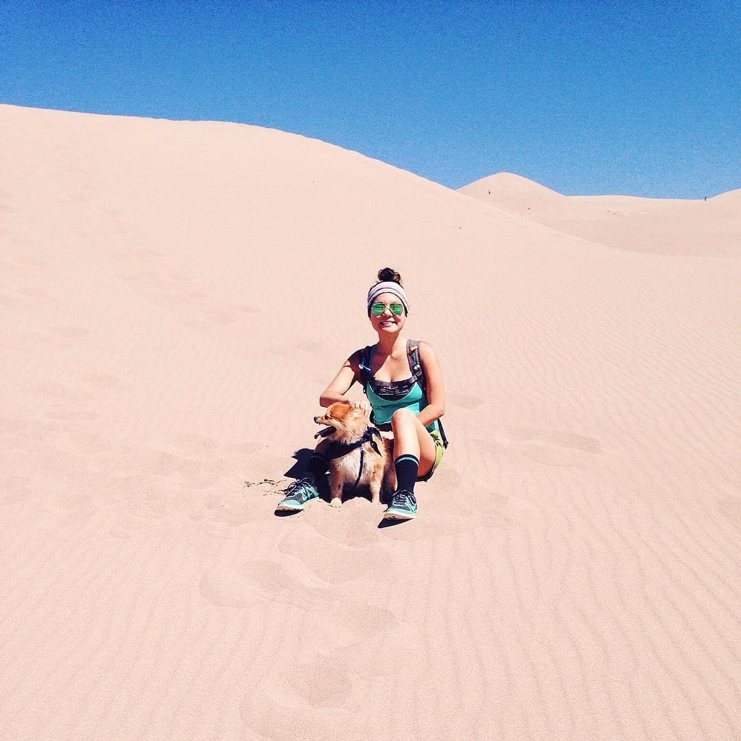 Where have you taken your pup? Sometimes I wonder if he knows how epic his life is? Here is @bexyfrass exploring the Great White Sand Dunes. #colorado #placestogo #lifeisanadventure