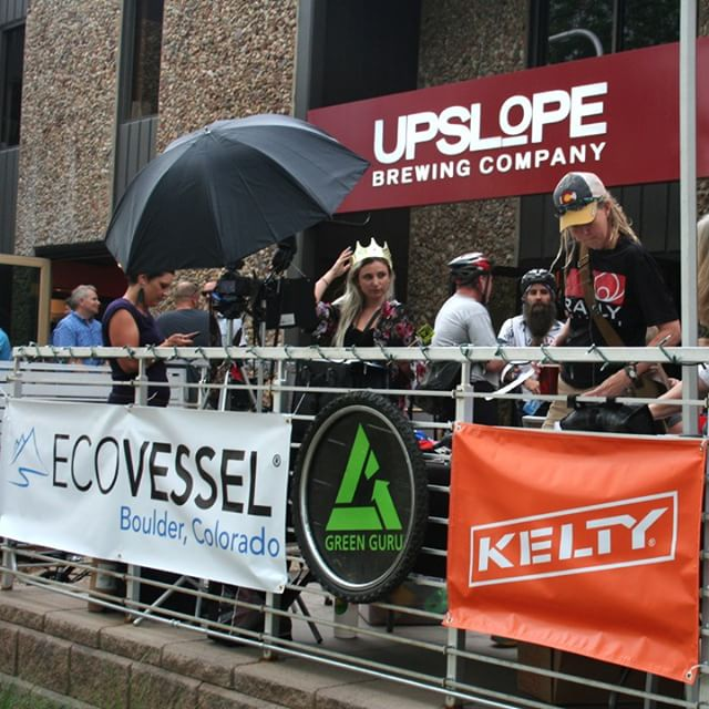 Where were you yesterday for #biketoworkday? We had a grand ol' time at @upslope with @Ecovessel, @Kelty, and @Sherpani_lifestyle, raising money for @CommunityCycles. #boulder #coloradolifestyle #bikes #holiday #upslope #greengurugear #happythursday