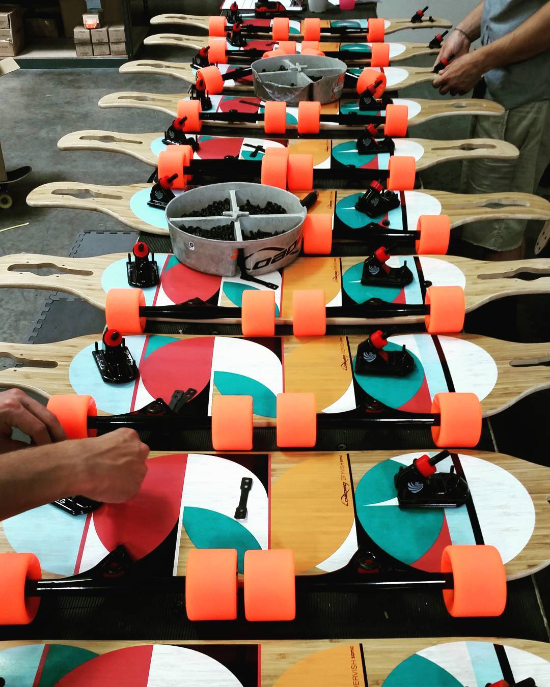 Loaded Dervish Samas eagerly awaiting to slip under your feet and carry you into summer.  #LoadedBoards #DervishSama #Dervish #Orangatang #Orange #Durians