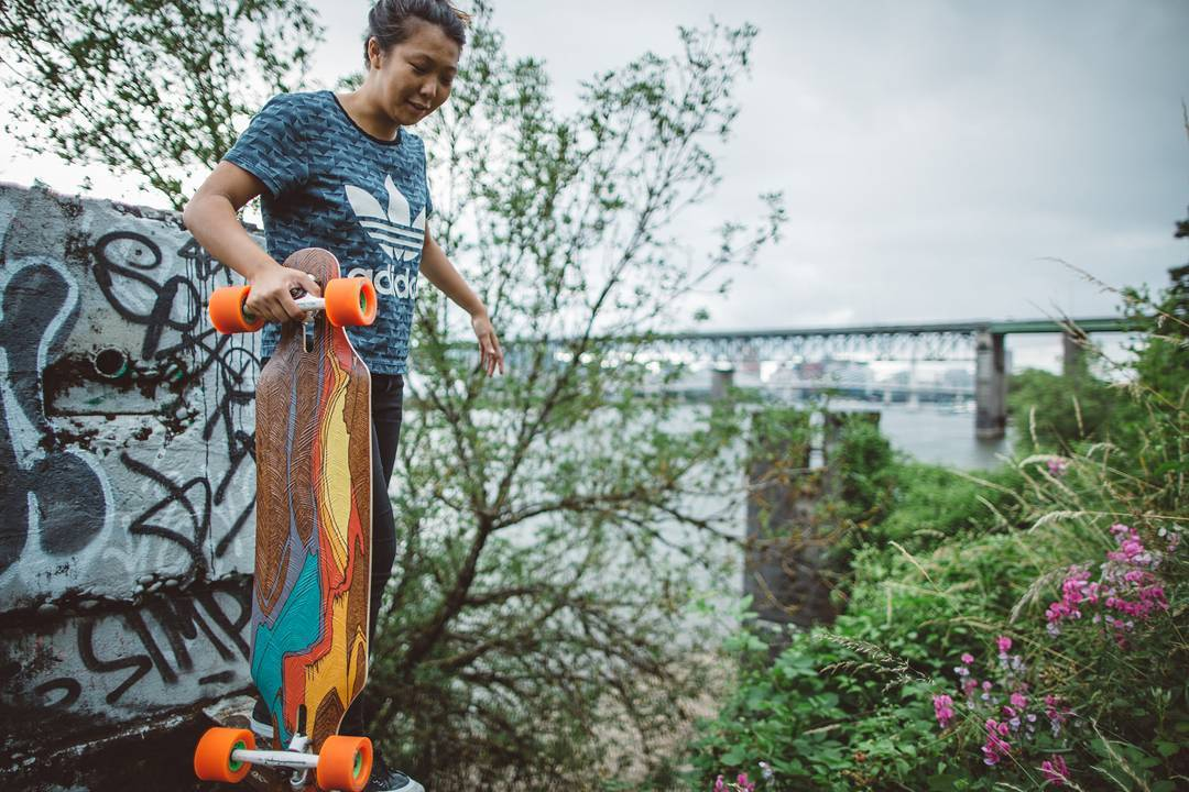 #LoadedAmbassador @iamcindyzhou taking her Loaded Icarus on an excursion into the pockets of forgotten wilderness of Portland.  Photo: @skatography  #LoadedBoards #Icarus #TheIcarus #LoadedIcarus #Orangatang #Orange #Kegels #WCW
