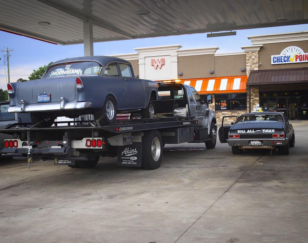 Broke down when all you wanna do is jam with your friends! Who can relate? #tri5byfire #napalmnova #chevy #gasser #nova