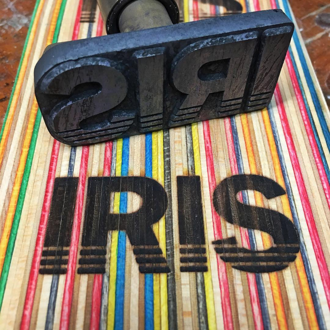 I'm super stoked on my new branding tool! Thank you @brandnewindustries ! #recycledskateboards #irisskateboards