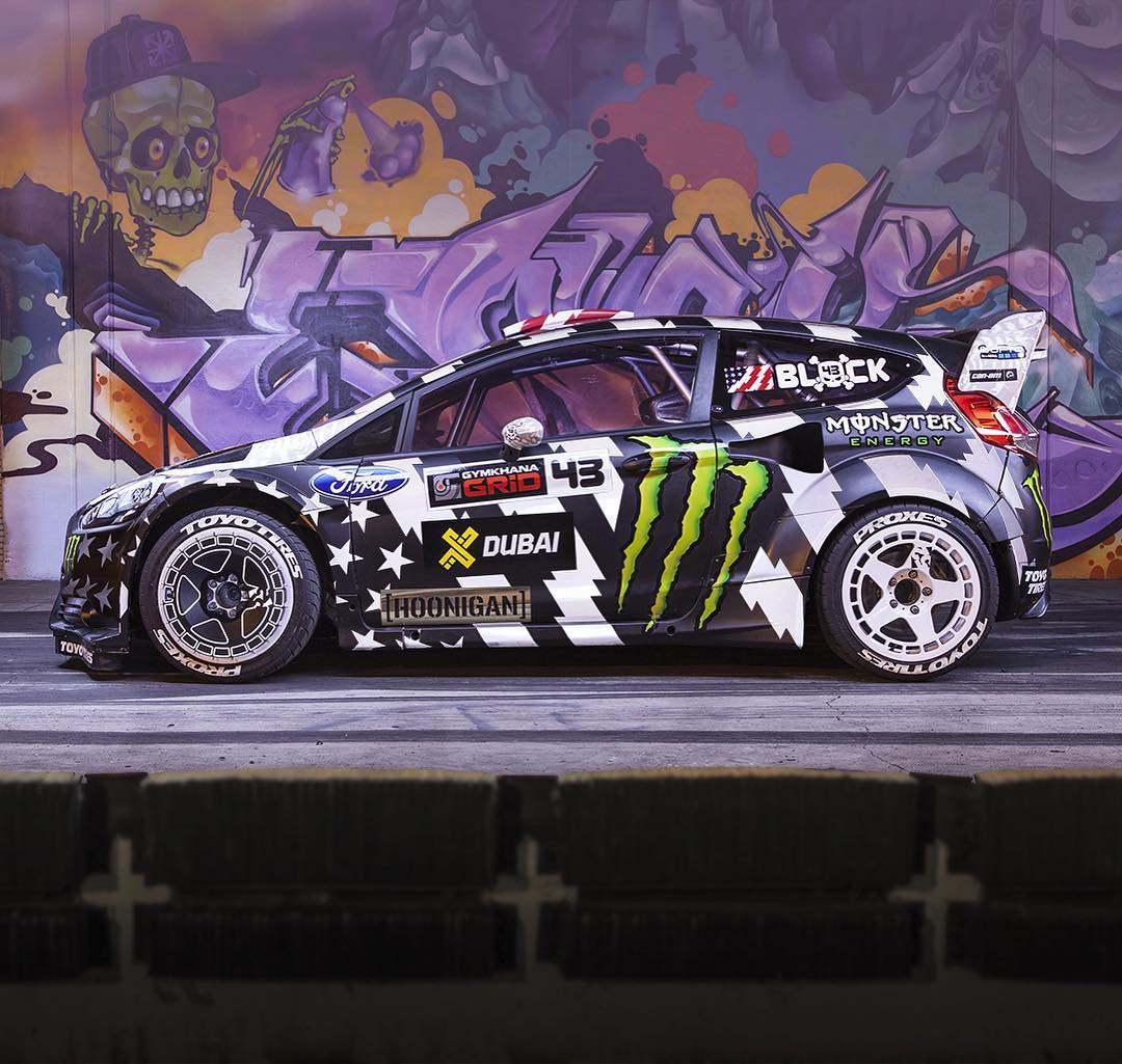 @kblock43's Fiesta RX43 (as seen in Gymkhana_EIGHT) at sunrise on the dock at the #DonutGarage. Hit that ultra reflective livery with some flash and it pops! #gymkhanaEIGHT