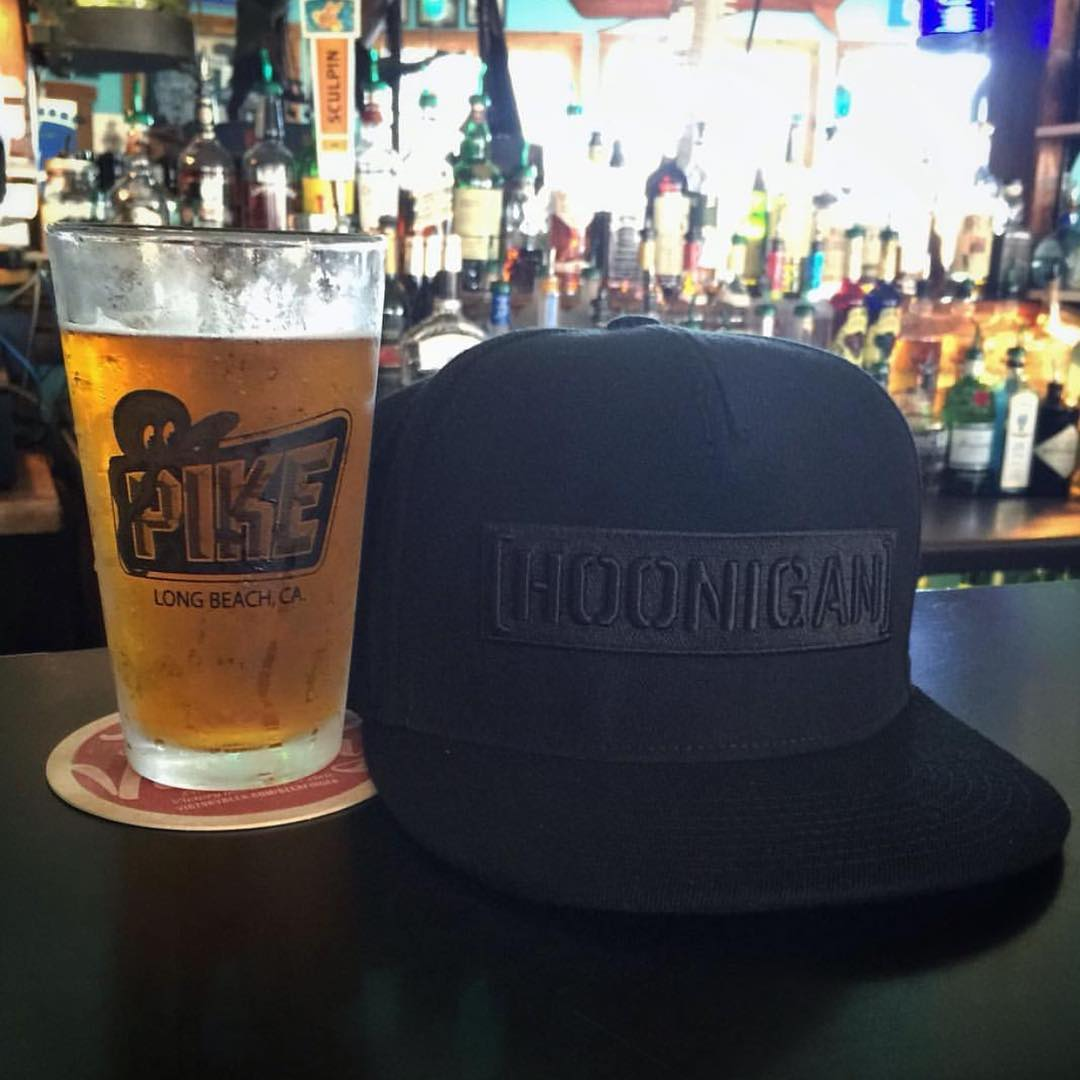 Our buddies at @oval_auto sent us this shot of our black-on- black C-bar SnapBack while visiting our favorite hang out spot, the @pikebar. #bestwaytogetafreebeer #orkickedout #hooniganDOTcom