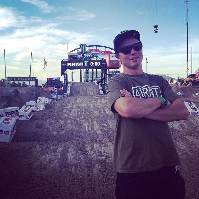 Track walking with @mrdavidwise. Thanks to @monsterenergy for making Supercross so rad.
