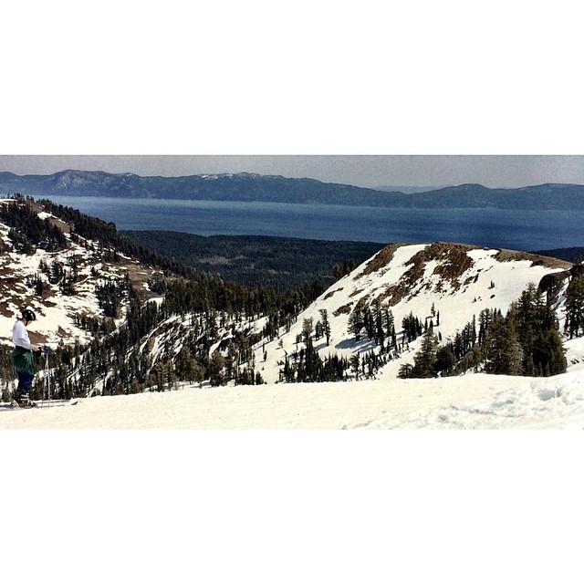 Here's the view from @alpine meadows of Lake Tahoe, having a great weekend riding here. it is the last resort open .riding has been great but stops at 1 when the snow slows down- see you up there today . #foridersbyriders #handmadelaketahoe