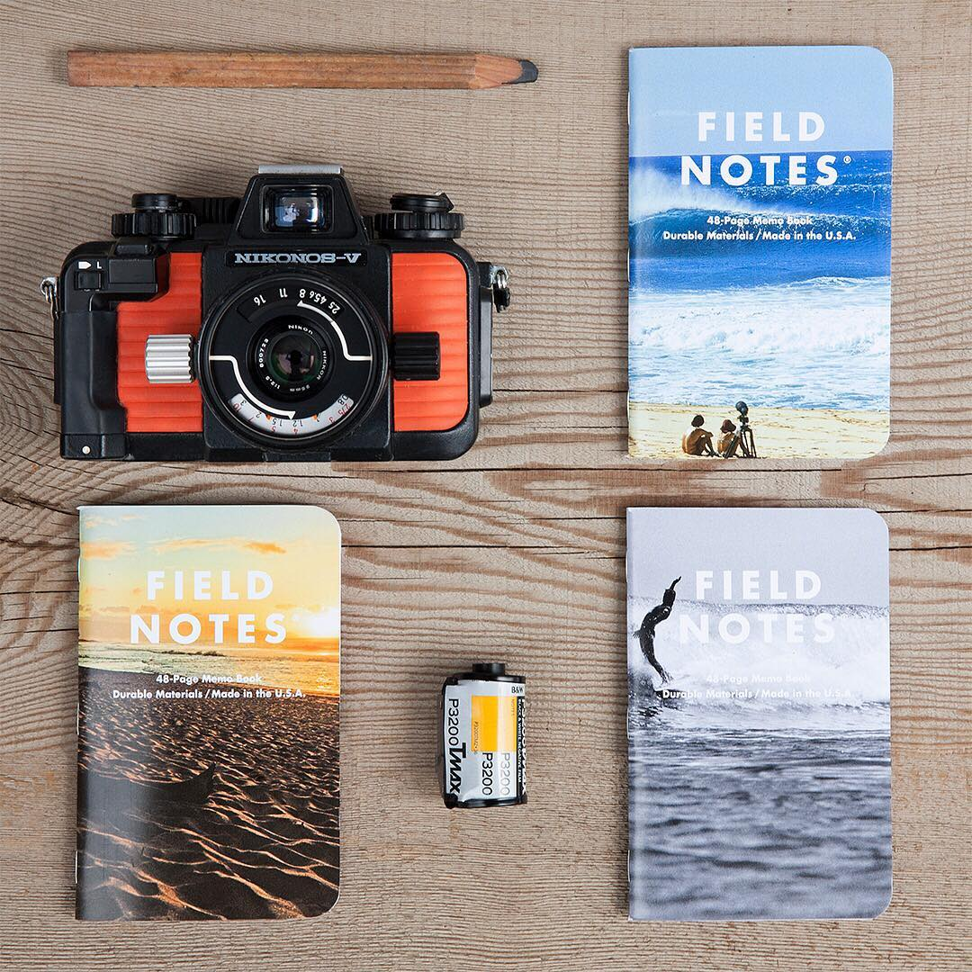 Take note. The new #Nixon x #FieldNotes featuring the iconic surf imagery of Jeff Divine. Perfect for jotting down secret spot coordinates, board shape dimensions and time machine schematics.