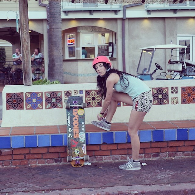 No better way to get around the island! @cocomarii gets set to explore beautiful Catalina Island #skate #travel #California girlswhoride #xshelmets