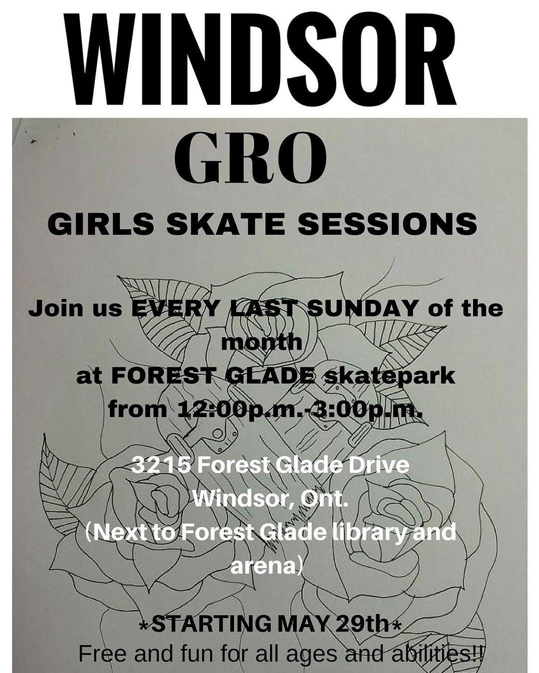 Come hang out with the ladies of the #windsorgrocrew this Sunday for a fun-filled skate session at Forrest Glade Skatepark! All ages and abilities welcome