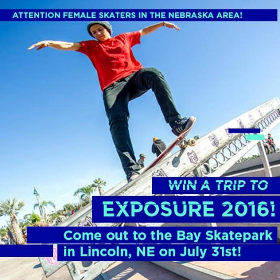 Nebraska!! This Sunday! Head out to #thebaylincolnne to skate @zumiezbestfootforward ! LADIES who skate with the guys will be considered to win a flight to EXPOSURE 2016! Photo by @jaimeowens