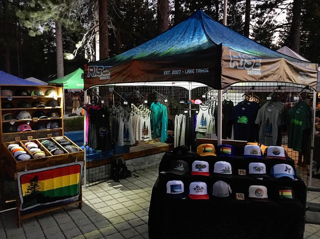 Thanks to everyone @liveatlakeview last night for a great time. The reggae music was great and so was the weather. Just another reason we all love Tahoe. #risedesigns #risedesignstahoe #tahoesouth #hats #shirts #tahoetribe #tahoelife