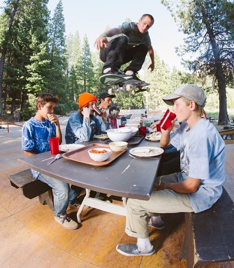 Not every day do you get to see @westgatebrandon soar over your dinner plate... But at @elementskatecamp anything can happen