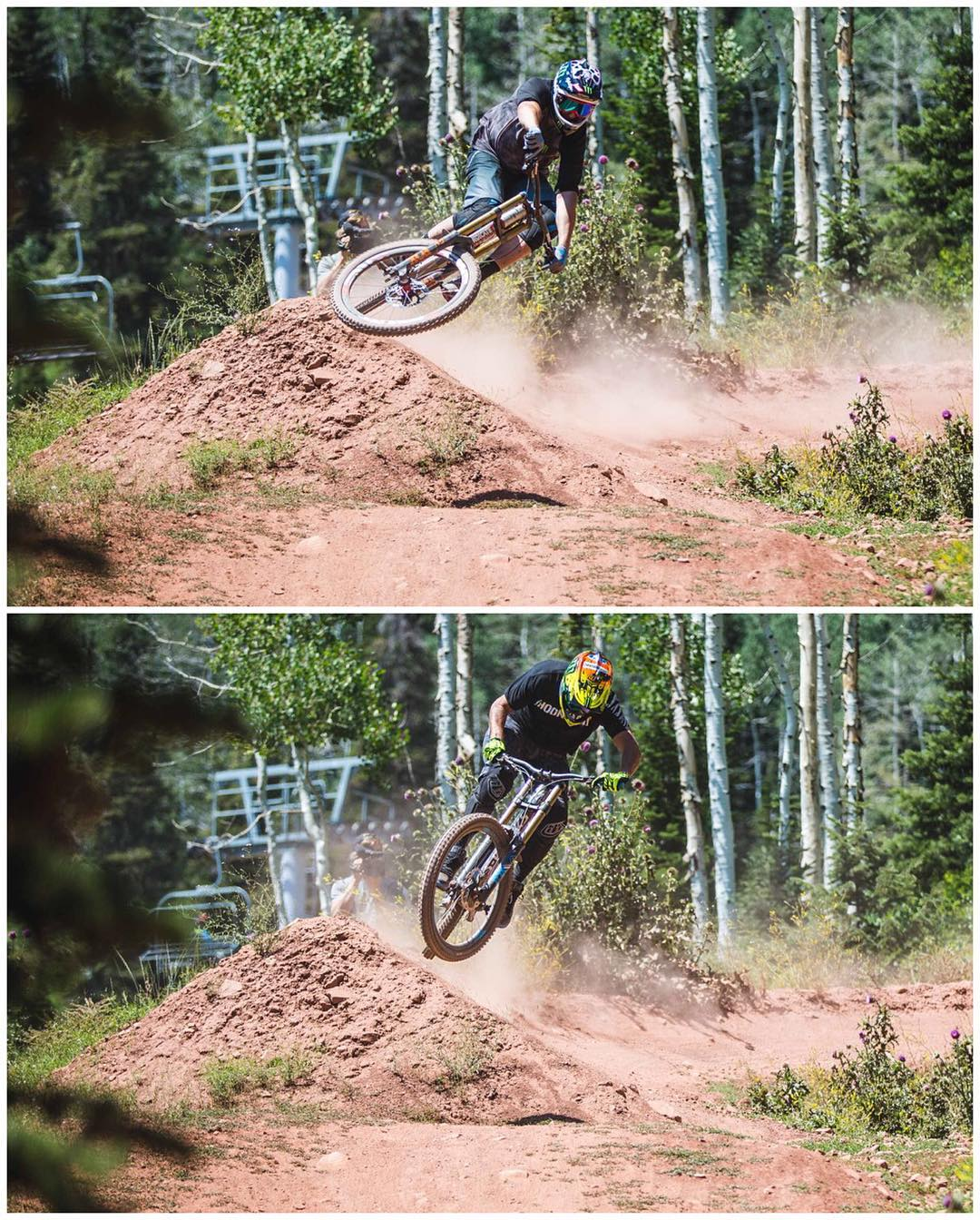 Comparison time: @StevePeat (top) and yours truly (bottom) on the same cambered corner on the Rally Cat trail here at The Canyons in Park City. Just kidding - there's no real comparison, ha. Peaty's a world class pro, and I'm just a racecar driver...