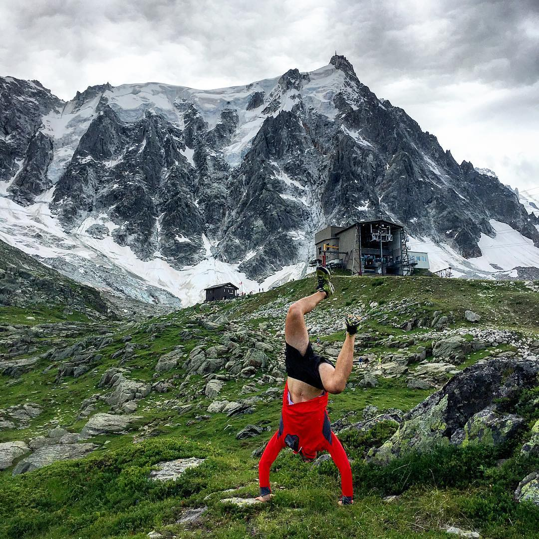 Handstands are harder when the air is thinner... #chamonix #alps
