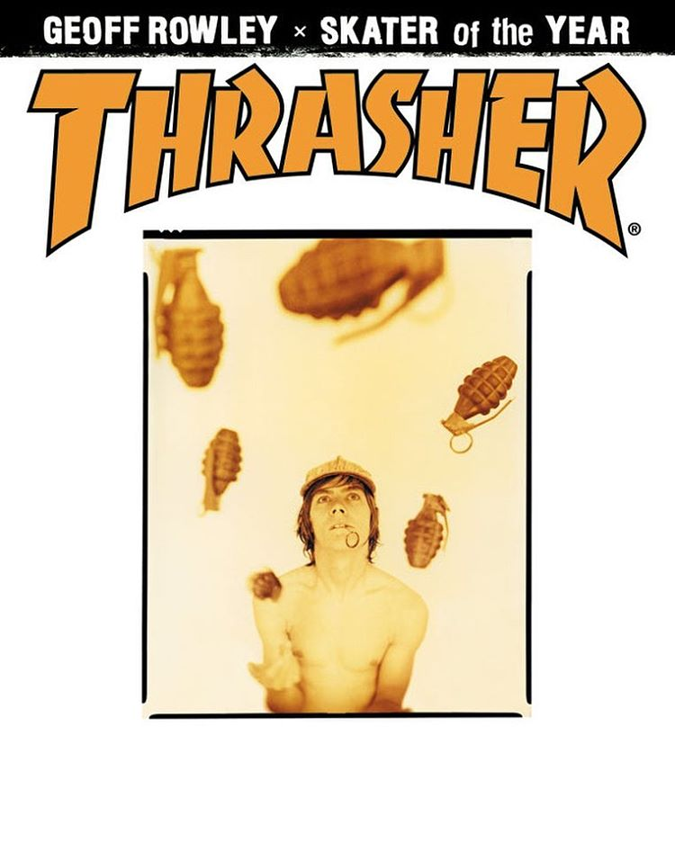 @geoffrowley fue elegido como Skater del Año 2000 por la revista @thrashermag y esta fue la tapa post reconocimiento, lanzada en abril de 2001.