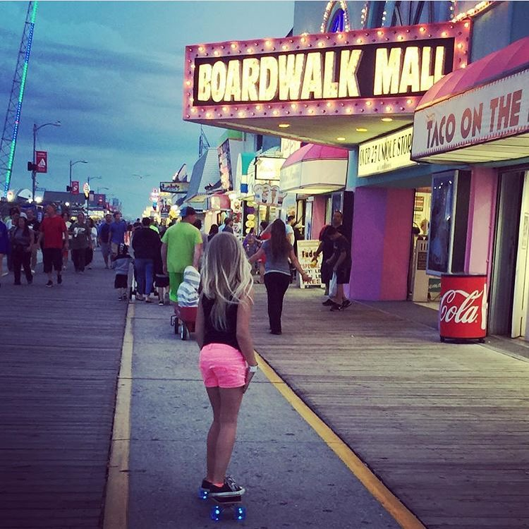 Today's your last chance to enter to win the @sunsetskateboards cruiser and a @dcshoes prize pack!! GRO rider @zoeherishen loves taking her @sunsetskateboards cruiser to the boardwalk- the light up wheels make it the perfect evening ride