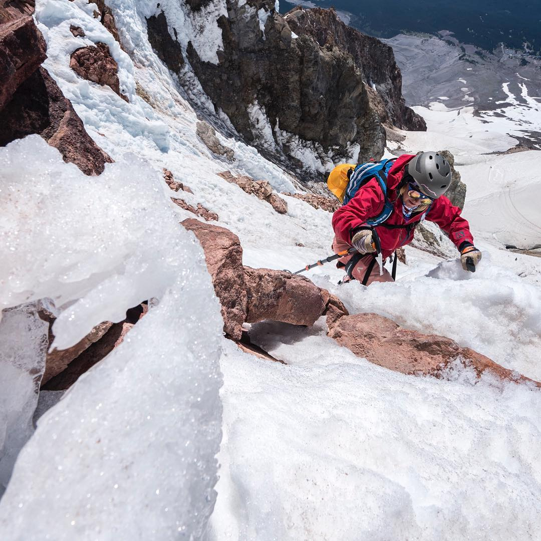 @skistrange topping out on Mt Hood today.  Nice break from coaching gates! #embracethestorm   #flylowgear