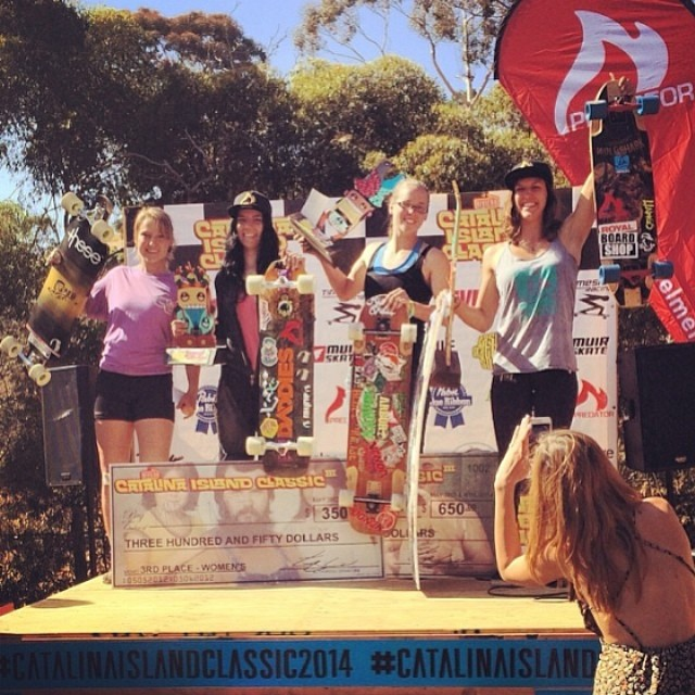 #catalinaislandclassic2014 womens' podium! 1. @e_coree 2. @fillbackside 3. @cocomarii 4. @vwaddington_skates Congrats to all the racers! Review coming soon. Photo credit @skateriviera #longboardgirlscrew #badassbosses #girlswhoskate