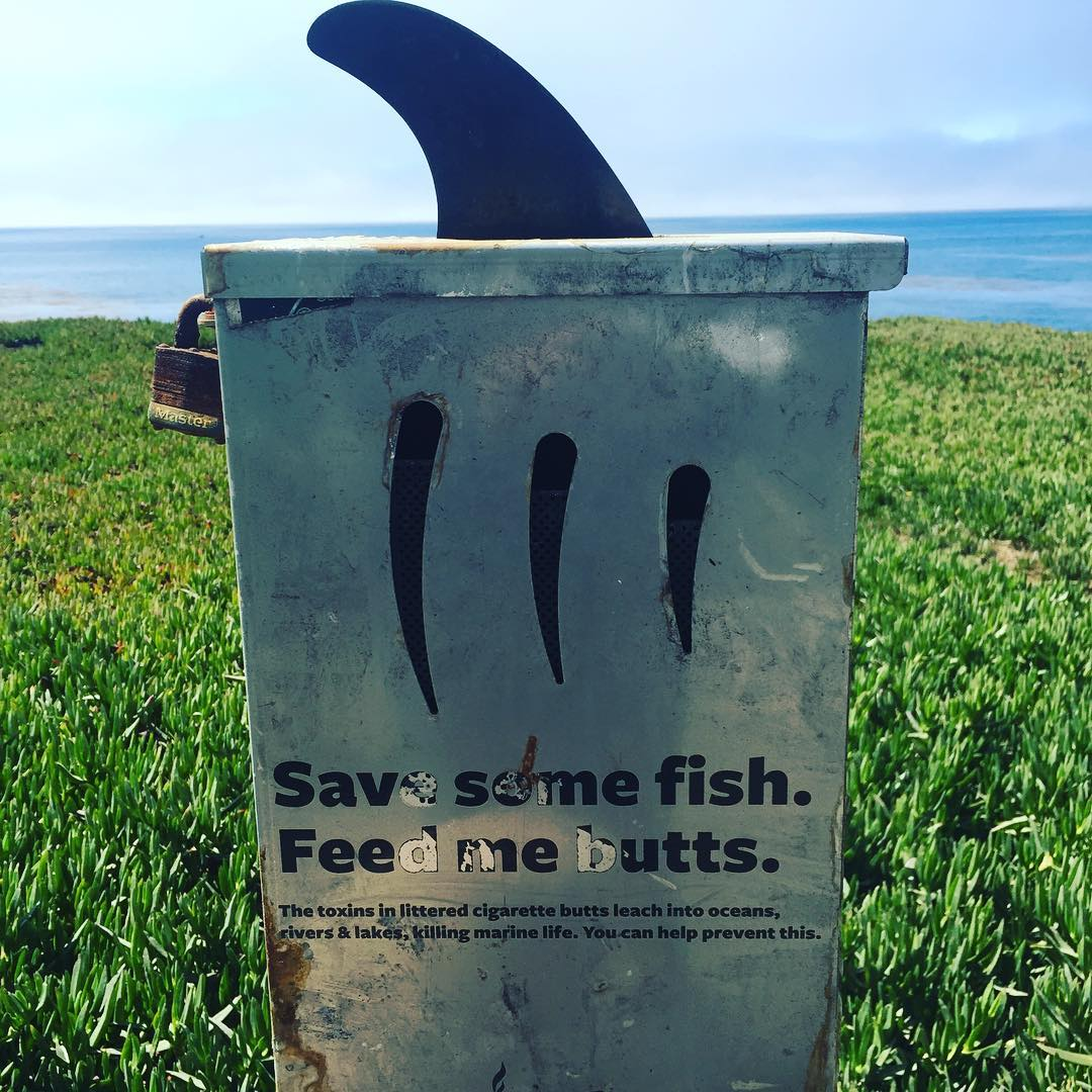 A great place for your cigarette butts is a container like this. @holdontoyourbutt is working to get bins like these installed in heavily littered places like the coastlines. We also have pocket-sized butt tins available at our meetings and events...