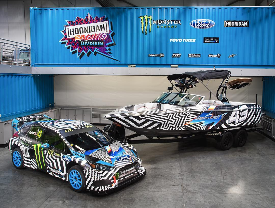 Our @MCboatcompany X30 wakeboarding boat just got some new clothes, freshly shod in the 2016 Hoonigan Racing by Felipe Pantone livery. LOVE the way this thing looks!! And as an added bonus, my Ford Focus RSRX rallycross car was in town getting...