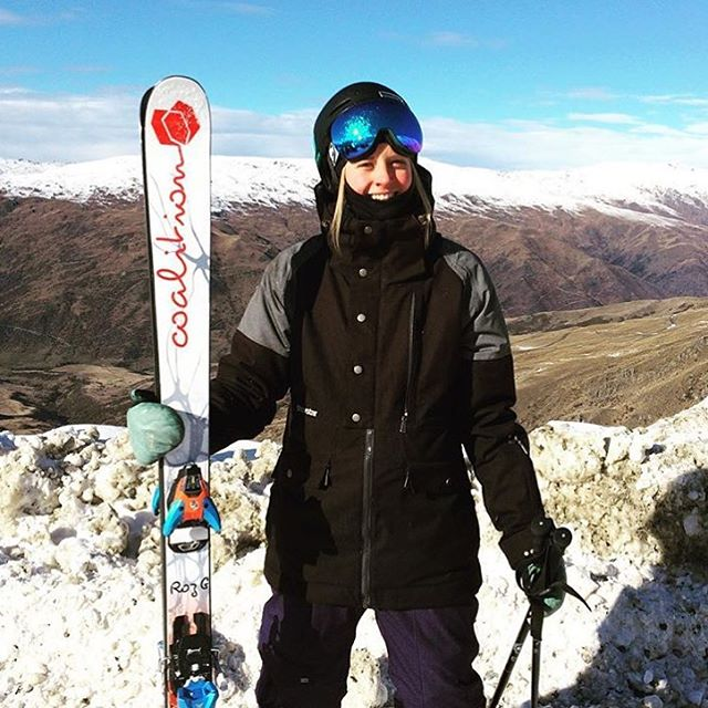 @britthawes_ sporting some Roz G model skis and a big ol' grin post coffee, pre ski. Just remember, it's always winter somewhere!