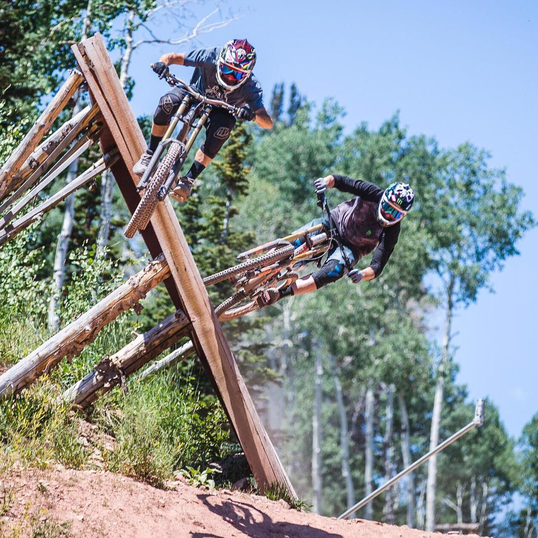 Amazing @Roncar shot of two of my riding buddies - Noah Brandon (in front) and @StevePeat (in the back) - from a great riding session last week at The Canyons in Park City. This wallride feature is much fun. #wallrideFTW #legends #ParkCity