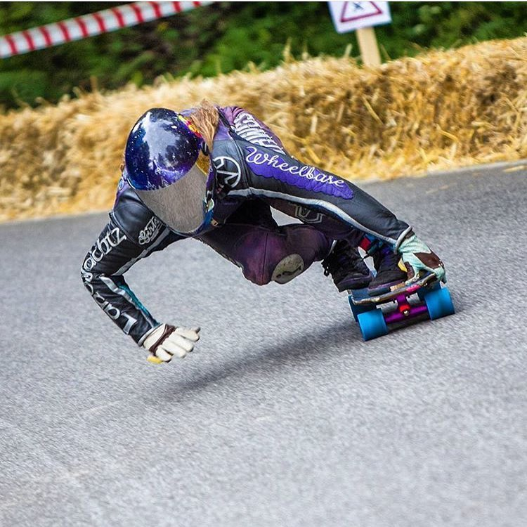 That lean! Our @skatebagels showing off  her rad style. Yeah Rach!
