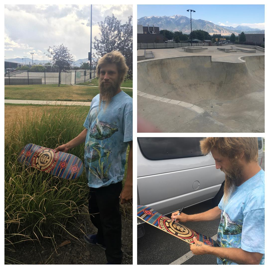 "On the road to the #ElementBoise event @greyson_fletcher just signed and dropped off his new ""first phase"" board in the bushes at the park in South Jordan, UT! >>> #elementkeepdiscovering"