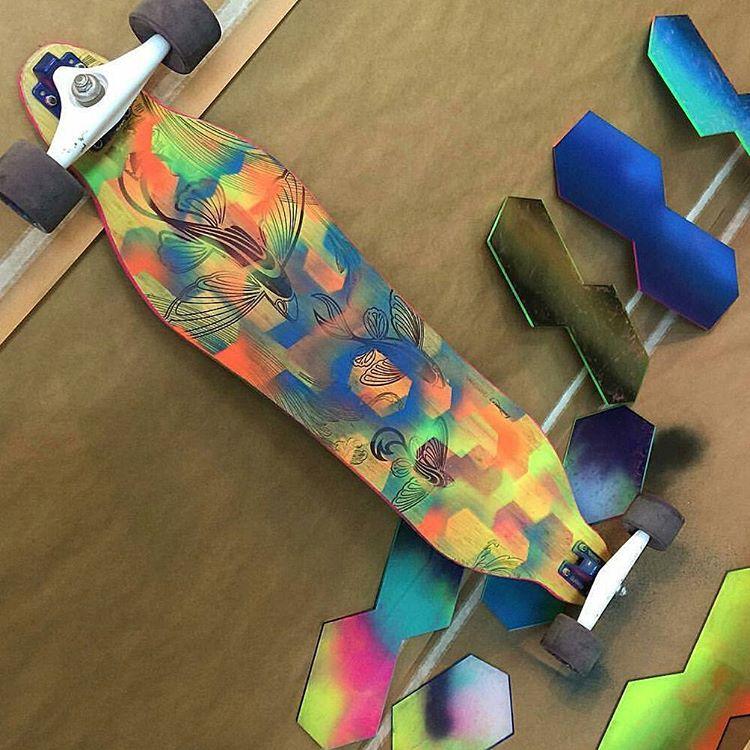 Repost: @gerstlart adds a few fresh layers of paint to his Loaded Vanguard.  #LoadedBoards #Vanguard #Orangatang