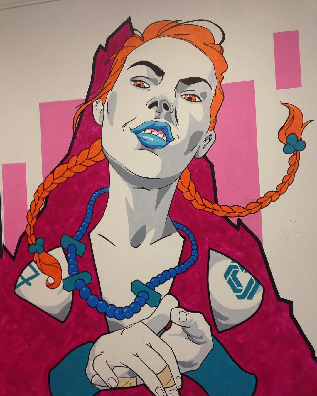 New mural by @jiminai at @cruxcc • #jiminai #cruxclimbingcenter #crux #spratx #art #mural #austintx #atx