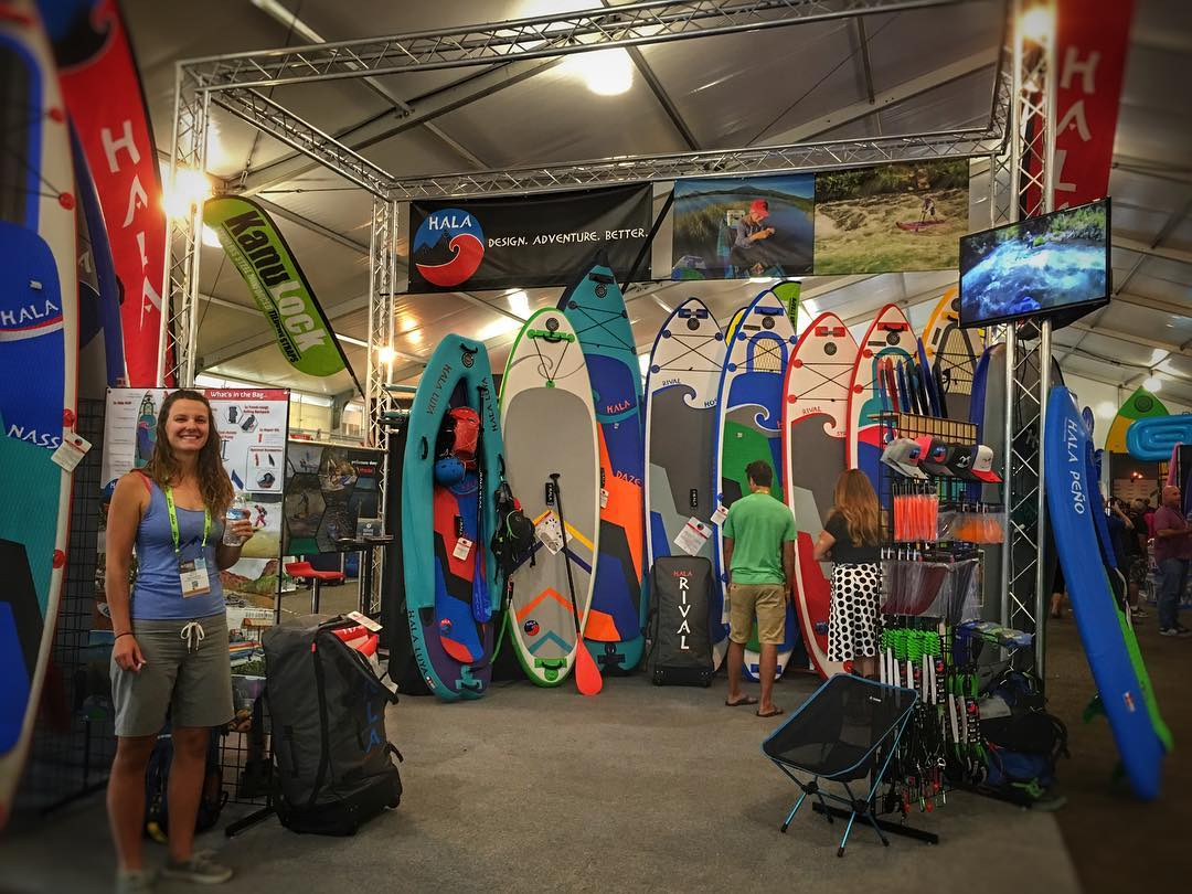 The new 2017 Hala Gear boards are out at @outdoorretailer! Come by the booth PV1025 and check them out! #halagear #adventuredesigned #inflatable #isup #whitewaterdesigned #durable #builttough #outdoorretailer