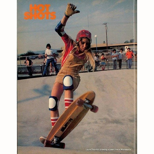 "#Legend Laura Thornhill (@laurathornhillcaswell) started skating in 1974 and was the first female to have a ""Who's Hot"" in @skateboarder_magazine in 1976! #skate #skateboarding #skateboard #skatelife #pioneer #og #thankyou"