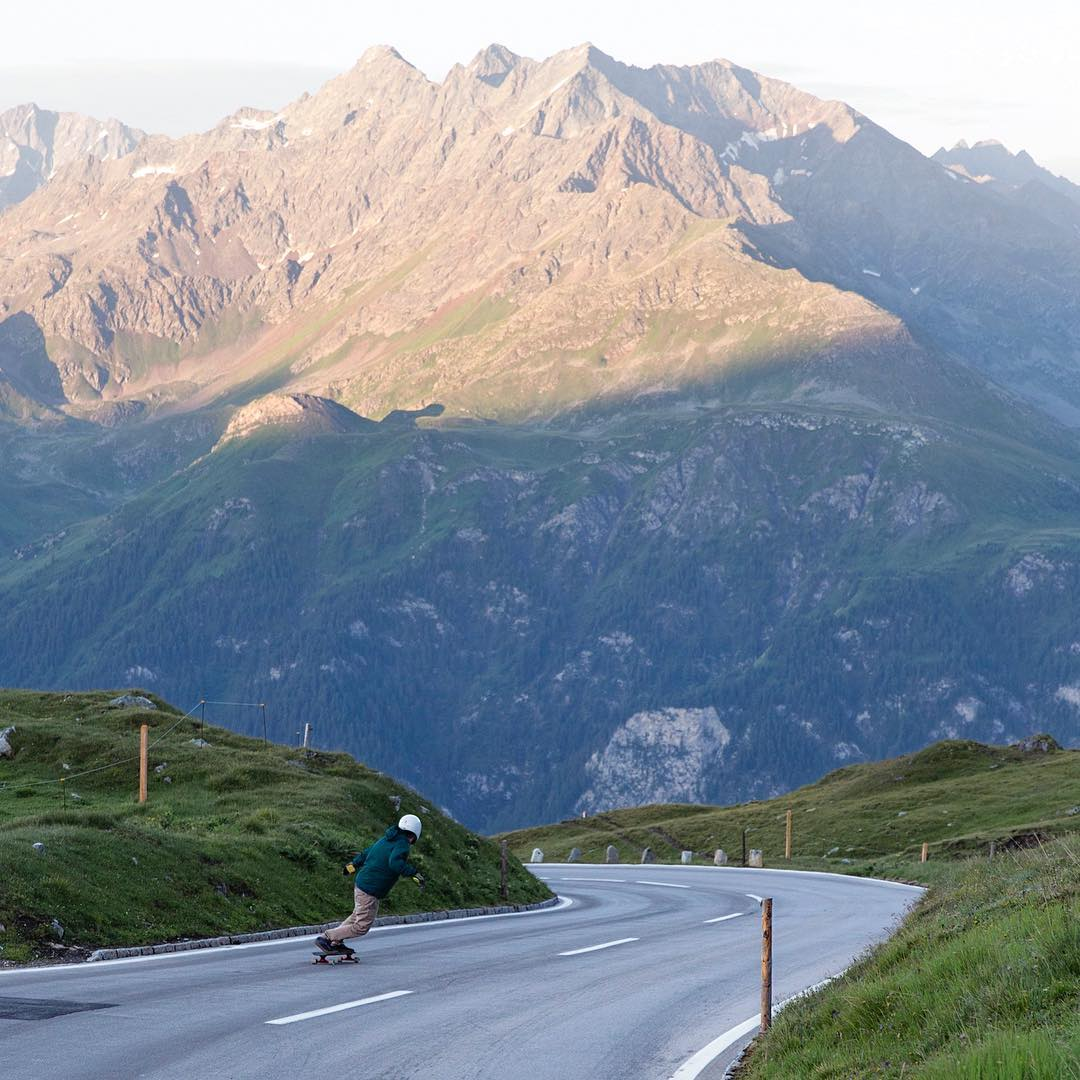 Catching those sunrise runs, @mattkienzle woke up at 5am to skate the highest pass in Austria before the rest of the country even opened their eyes.