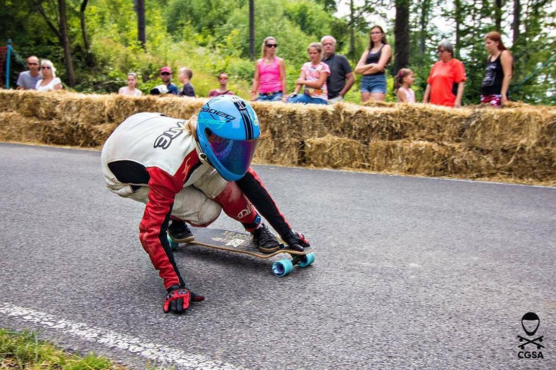 "Team rider @toni_conte mobbing on the Contra 35.5"" at the Kozakov Challenge. (Photo by Cgsa Downhill) #dblongboards #contra #longboard #downhillskateboarding"