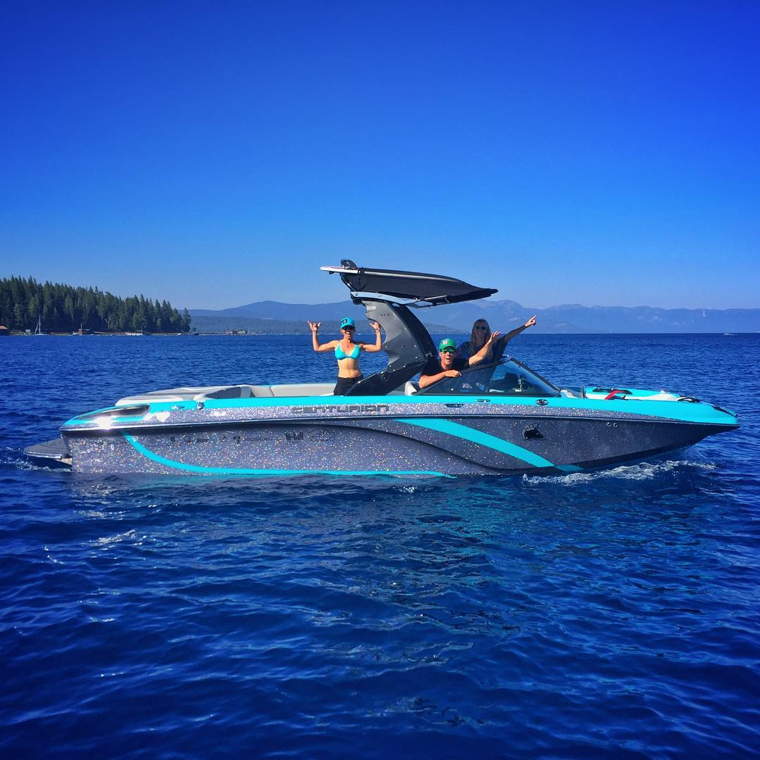 My gratitude is overflowing - the new team boat splashed into #LakeTahoe yesterday & the #SmilesForMiles are real!! Thank you #TeamCenturionBoats for so many incredible water adventures & thank you #bigtruck for empowering this #FS44 wave making...
