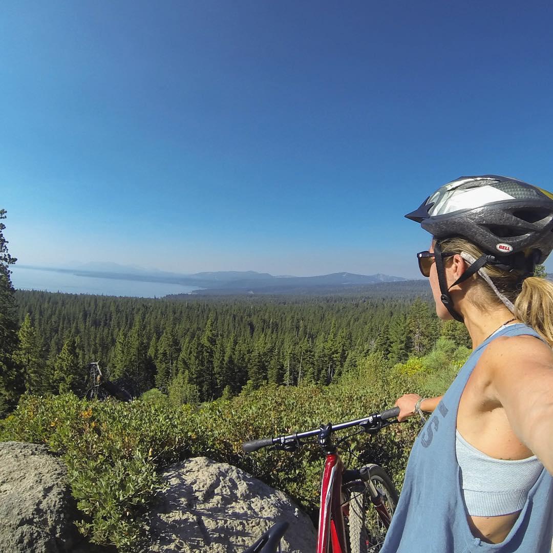 Can never get enough of this view #laketahoe #Tahoe #lategram #gopro #mountainbiking
