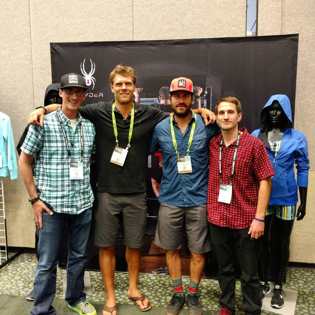 Stoked to meet with @steven_nyman at the @spyderactive booth! Looking forward to #inspireyouth this year and beyond. #outdoorretailer
