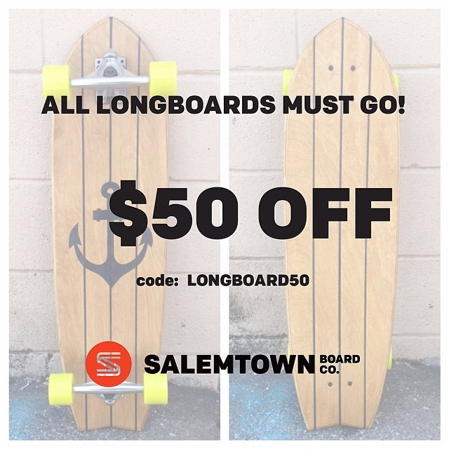 "Big things are happening at STBCo.! But first we need to sell all our longboards. Only 5 more left! This is your chance to pick up a hand-crafted longboard from Nashville for $50 OFF. Input code ""LONGBOARD50"" at checkout."