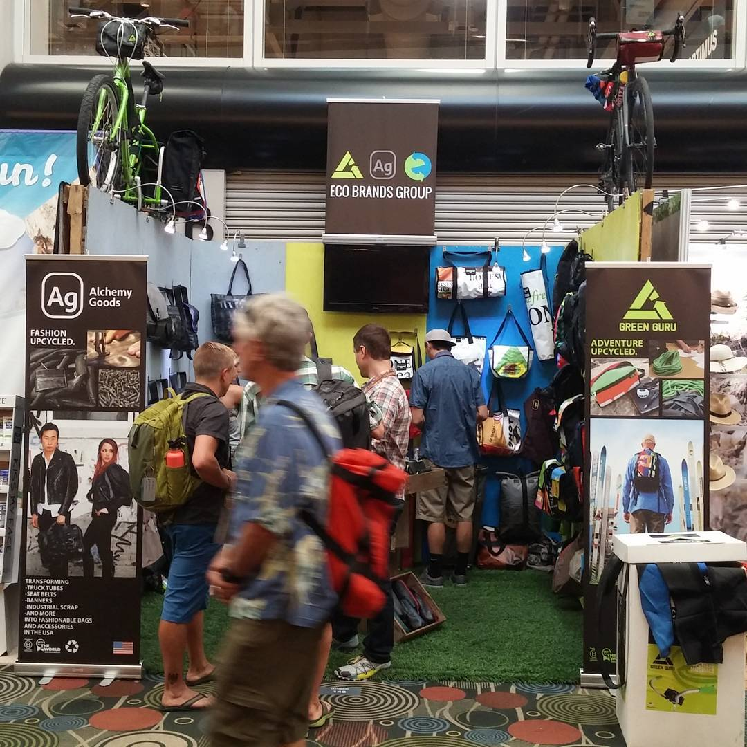 More #upcycled #gear than ever on display at the Green Guru booth at #orshow