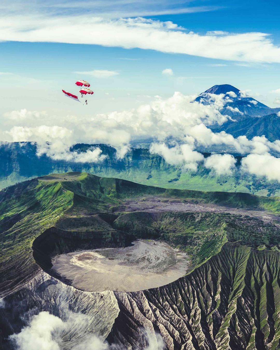 Name the country this photo was taken in. *Hint: Look closely at the Flag. #skydiving #adventure #volcano
