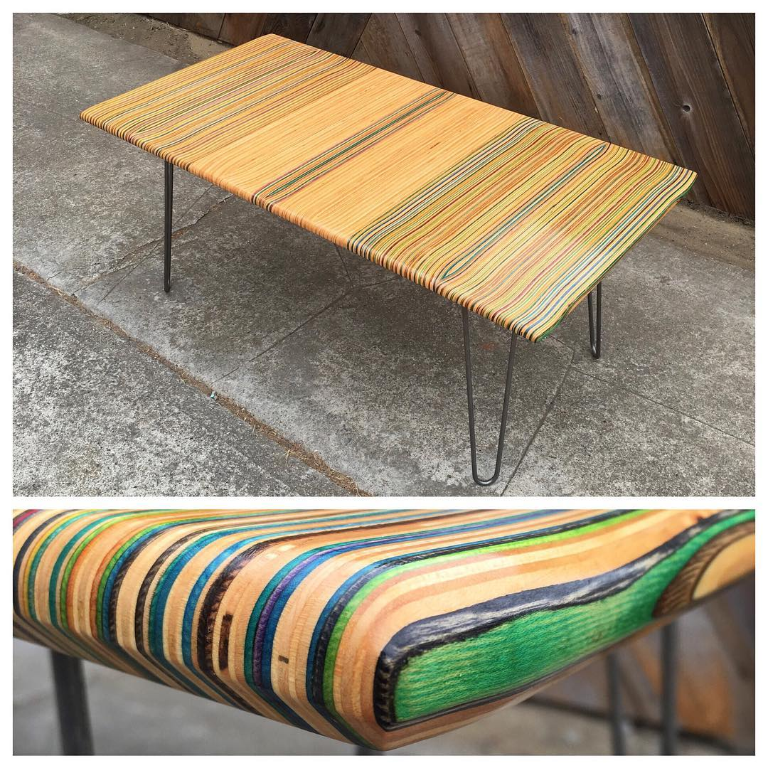 Another coffee table just left the shop. I'm very satisfied with how it turned out. Maybe someday I'll make one for myself...Haha! #recycledskateboards #irisskateboards
