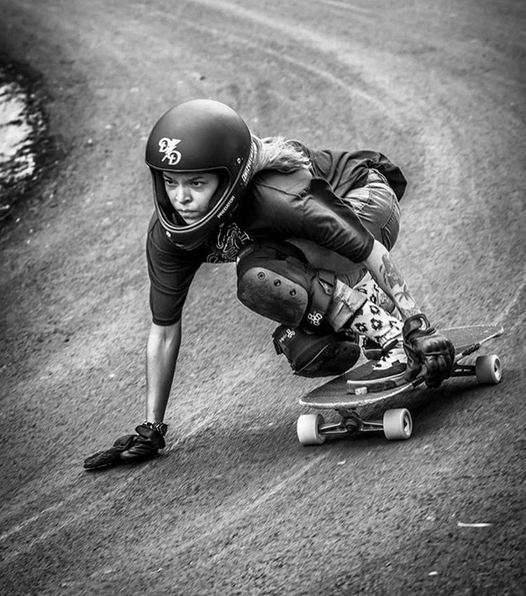 Look at that determination face. LGC Costa Rica @longboardgirlscrewcostarica Ambassador @kalachaves going for it. Set a goal and go for it