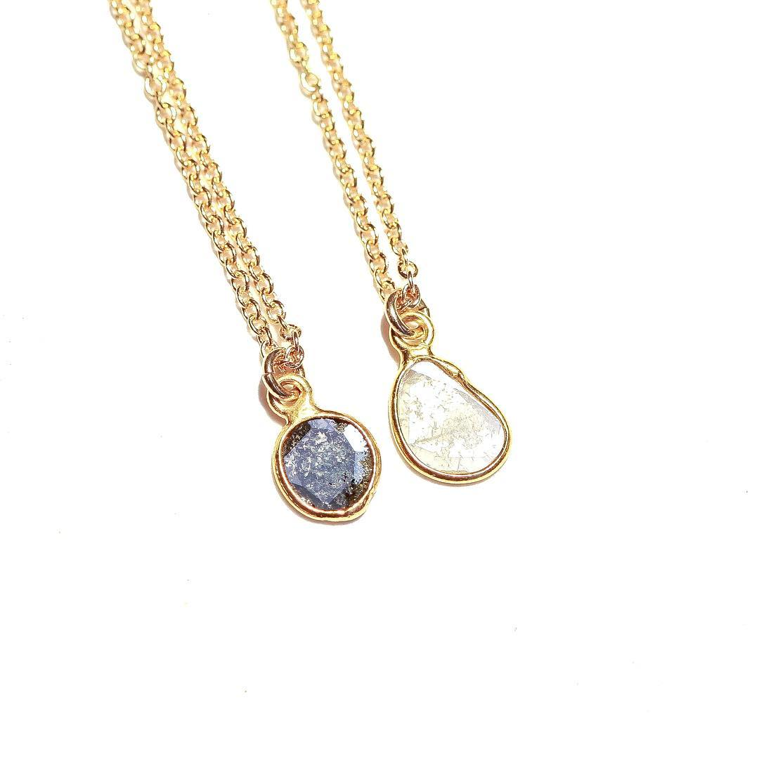 Beautiful Diamond Drops Tear drop style Diamond Slice Neckace. #diamonds #summer #finecollective #juliaszendrei