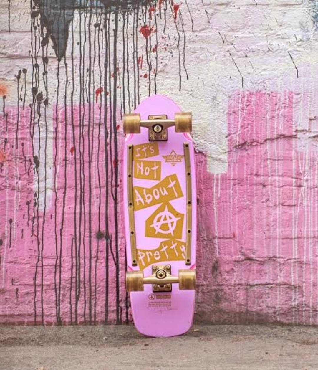 """The """"It's Not About Pretty"""" cruiser board is now available at @zumiez ! This beauty is a collaboration between @girlisnota4letterword and @dusterscalifornia , and a portion of each sale will be donated to our mission at EXPOSURE!"""