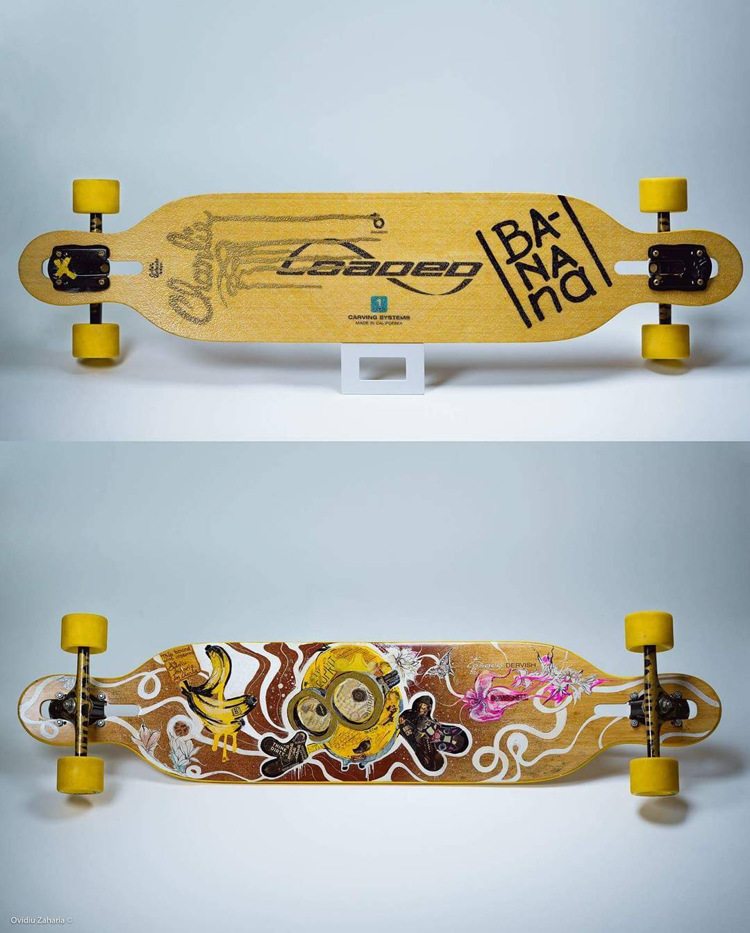 Talk about some cool custom artwork!  @ovidiuzaharia put together this amazing looking custom paint job on his Loaded Dervish and we can't help but crave bananas and speak gibberish!  #FanFriday #LoadedBoards #Dervish