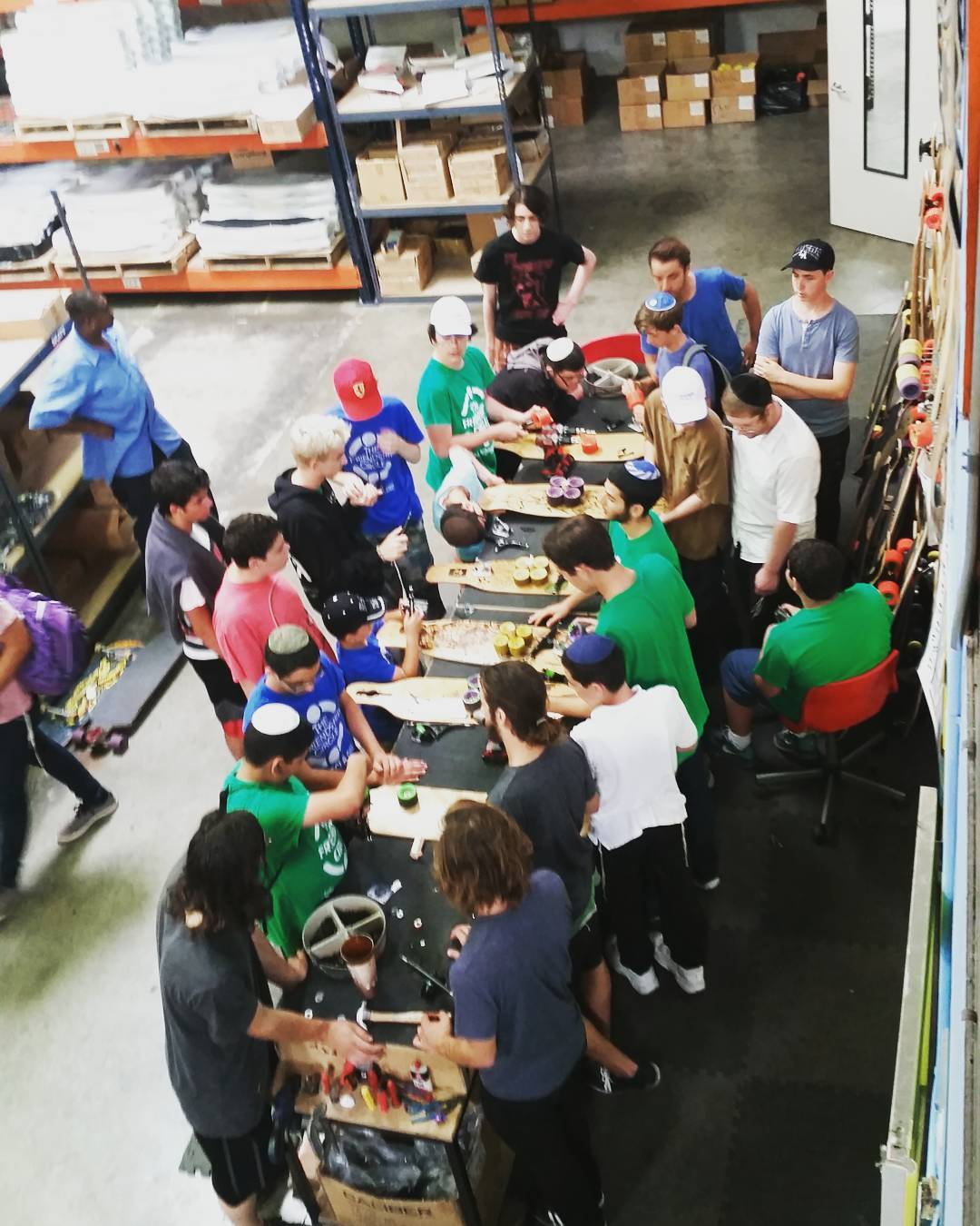 The boys from @friendshipcirclela stopped by the warehouse today to help assemble some skateboards and skate with the local crew!  #LoadedBoards #FriendShipCircle