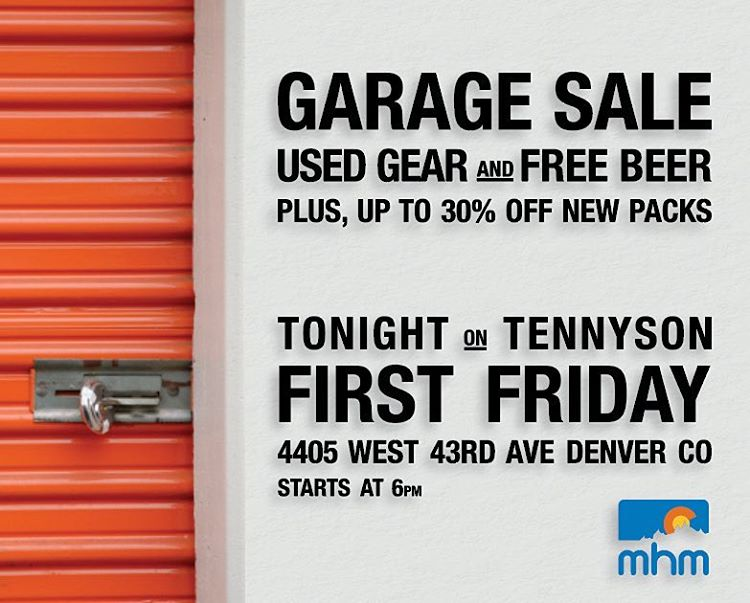 Calling all Denverites, Denverans & Denveroans, join us for #FirstFriday tonight on Tennyson! We'll be having a Garage Sale with samples and used gear, plus up to 30% OFF new packs, #FREEBEER and Tyler from Volz Woodworking will be slangin his wares!...